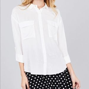 Off White Woven Button Down Shirt Small